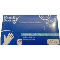 """Guante de Latex, caja x 100 Unid. """"XS"""" Family Doctor"""