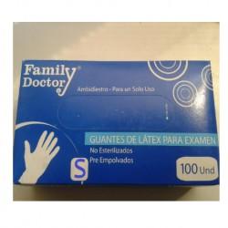"""Guante de Látex, Caja x 100 Unid. """"S"""" Family Doctor"""