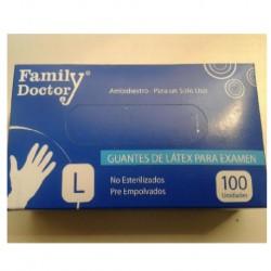 """Guante de Látex, caja x 100 Unid. """"L"""" Family Doctor"""